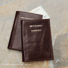 Image 9 of the 'Prato' Black Veg-Tanned Leather Passport Wallet