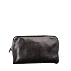 Image 1 of the 'Raffaelle' Black Veg-Tanned Leather Wash Bag
