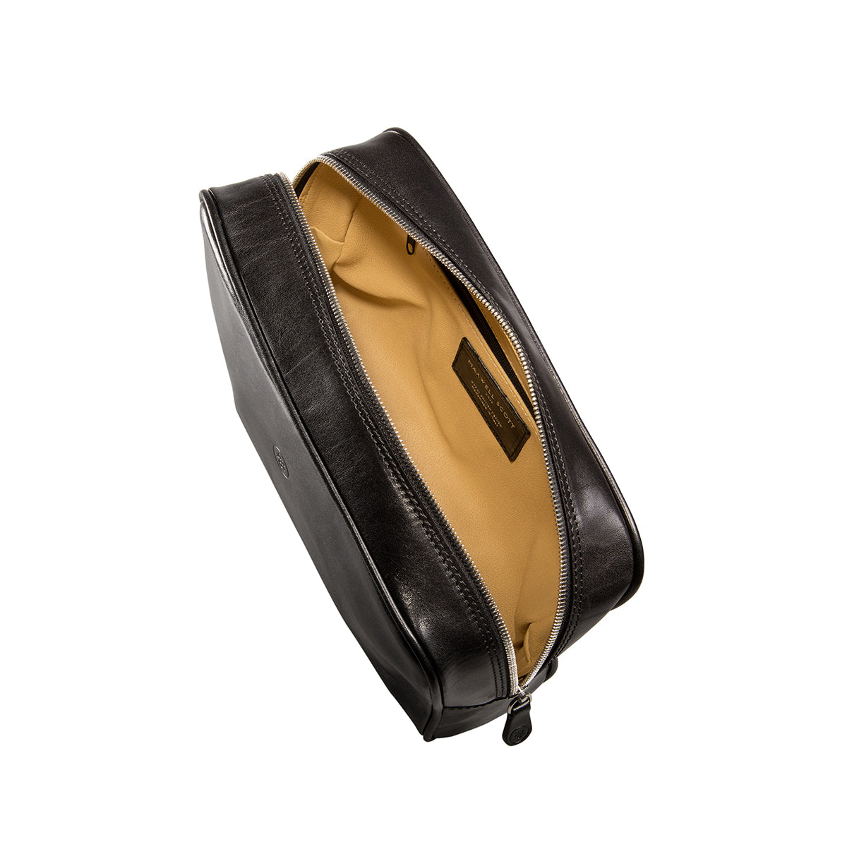 Image 5 of the 'Raffaelle' Black Veg-Tanned Leather Wash Bag