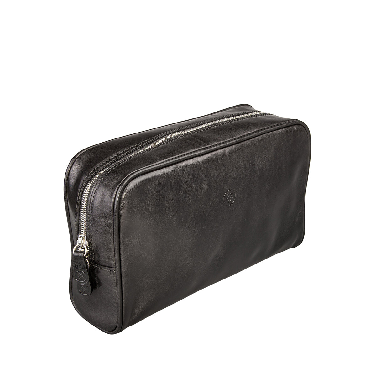 Image 2 of the 'Raffaelle' Black Veg-Tanned Leather Wash Bag