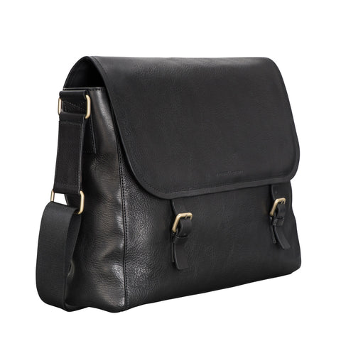 Image 2 of the 'Ravenna' Black Leather Men's Satchel Bag