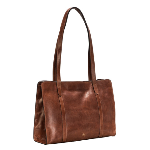 Image 2 of the 'Rivara' Large Chestnut Veg-Tanned Leather Shoulder Bag