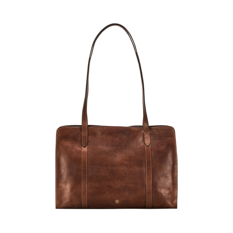 Image 1 of the 'Rivara' Large Chestnut Veg-Tanned Leather Shoulder Bag