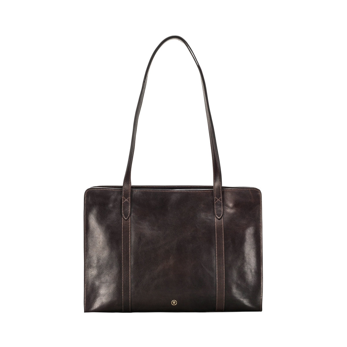 Image 1 of the 'Rivara' Large Dark Chocolate Veg-Tanned Leather Shoulder Bag
