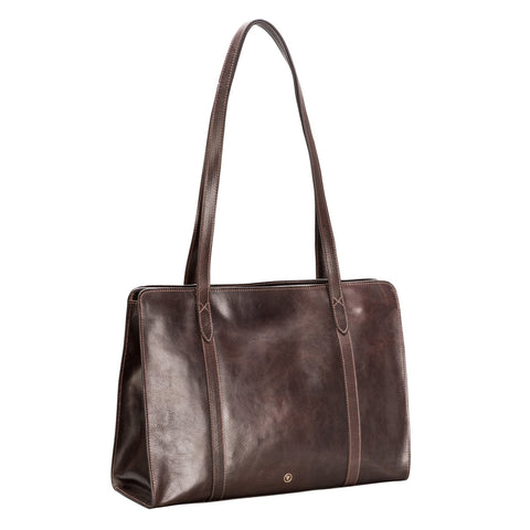 Image 2 of the 'Rivara' Large Dark Chocolate Veg-Tanned Leather Shoulder Bag