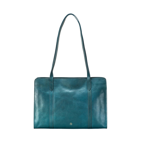 Image 1 of the 'Rivara' Large Ladies Petrol Leather A4 Work Bag