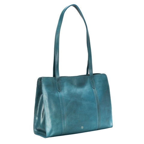 Image 2 of the 'Rivara' Large Ladies Petrol Leather A4 Work Bag