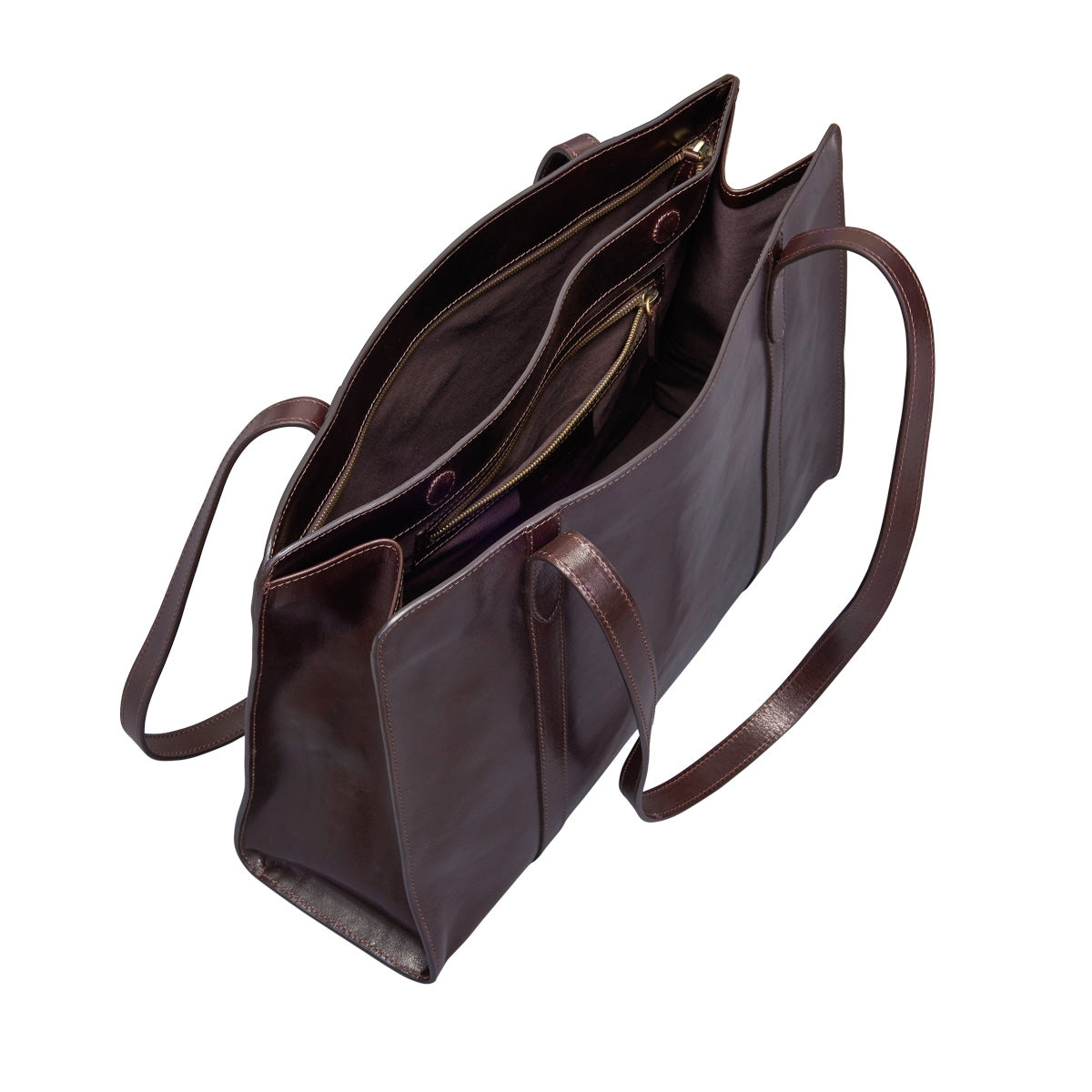 Image 5 of the 'Rivara' Large Dark Chocolate Veg-Tanned Leather Shoulder Bag