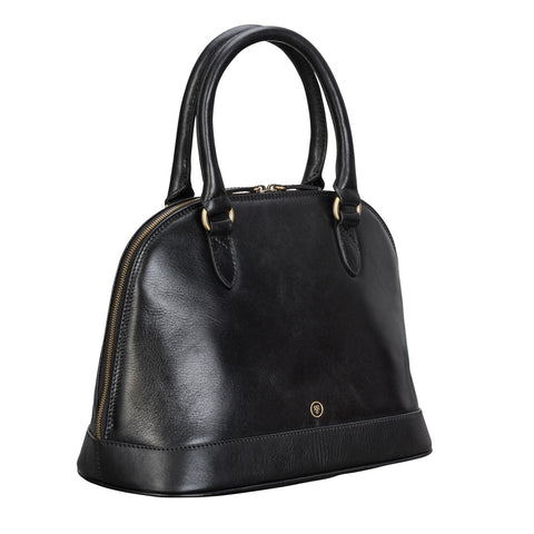 Image 2 of the 'Rosa' Black Veg-Tanned Leather Tote