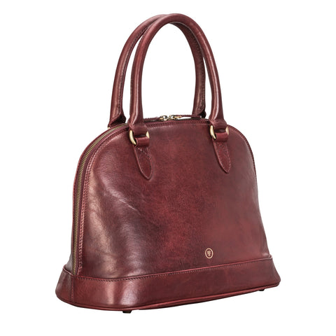 Image 2 of the 'Rosa' Italian Wine Leather Classic Ladies Handbag