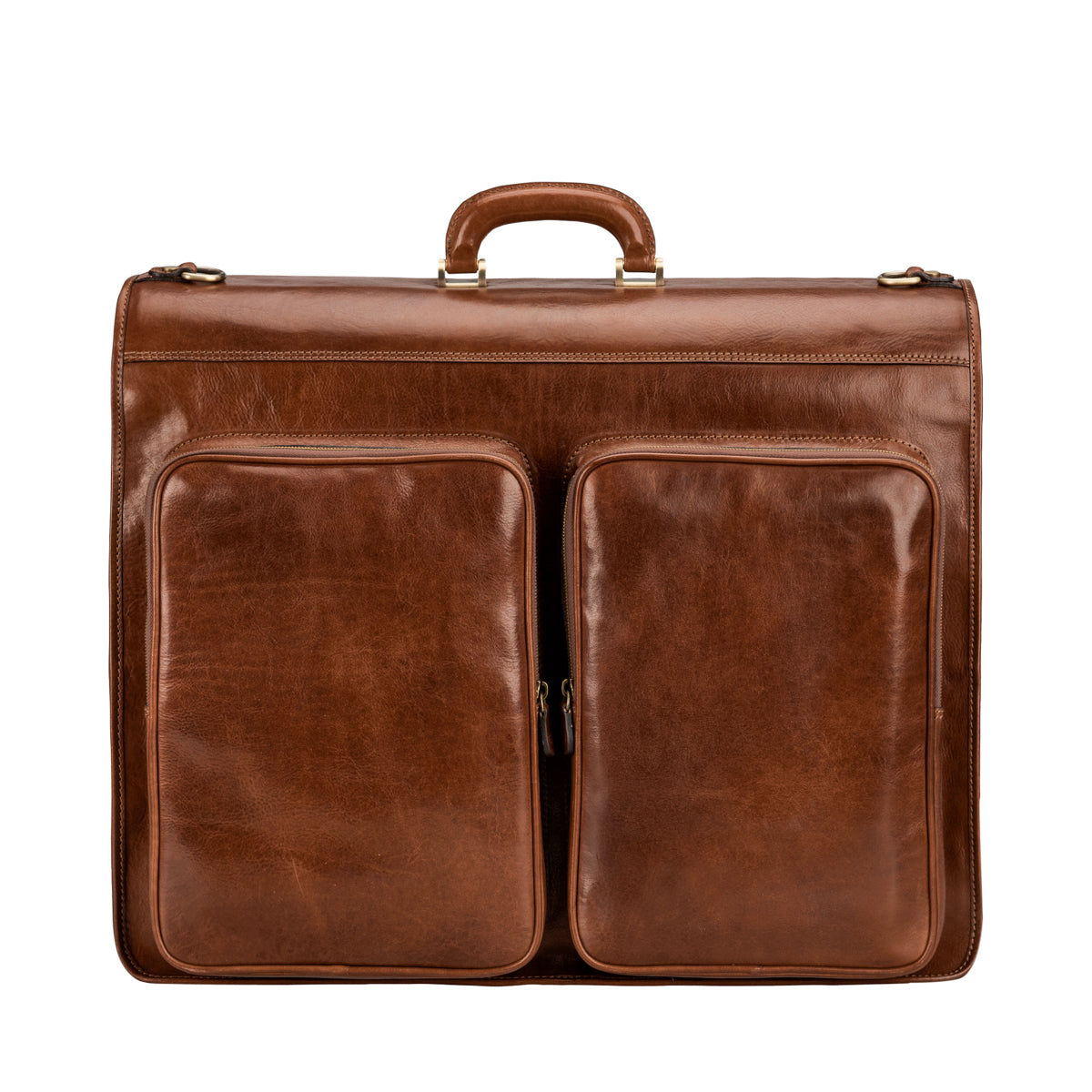 Image 3 of the 'Rovello' Chestnut Veg-Tanned Leather Suit Carrier