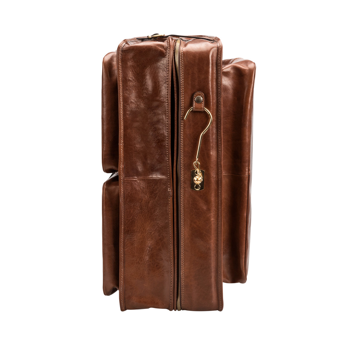 Image 4 of the 'Rovello' Chestnut Veg-Tanned Leather Suit Carrier