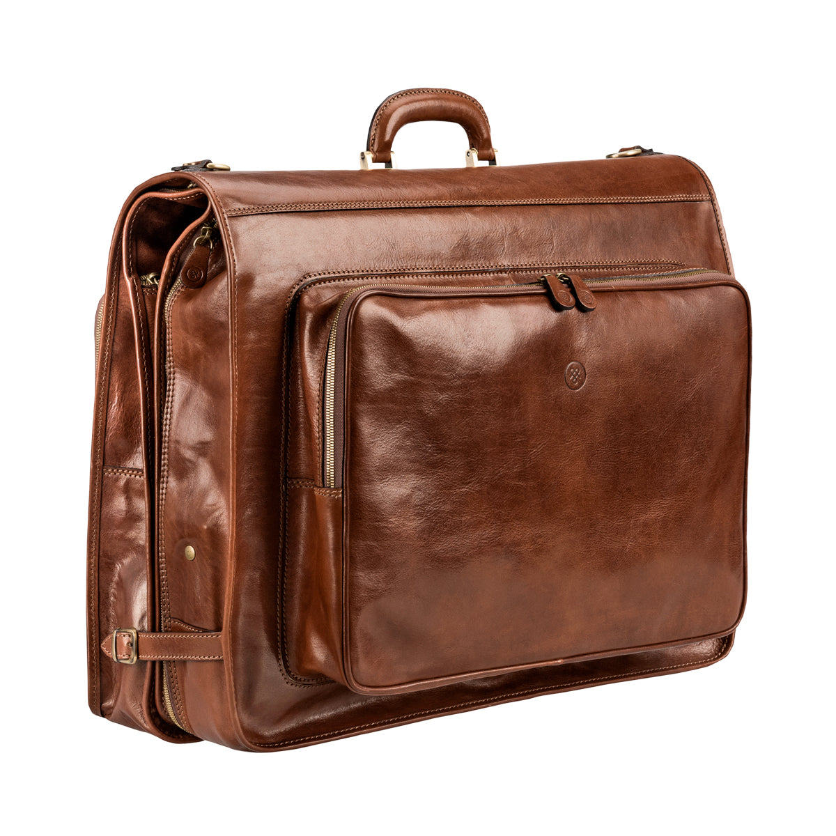 Image 2 of the 'Rovello' Chestnut Veg-Tanned Leather Suit Carrier