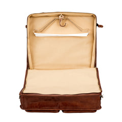 Image 5 of the 'Rovello' Chestnut Veg-Tanned Leather Suit Carrier