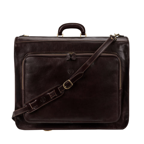 Image 1 of the 'Rovello' Dark Chocolate Veg-Tanned Leather Suit Carrier
