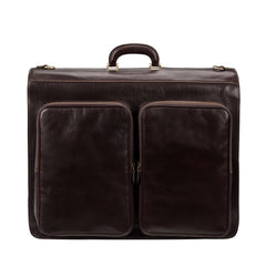 Image 3 of the 'Rovello' Dark Chocolate Veg-Tanned Leather Suit Carrier