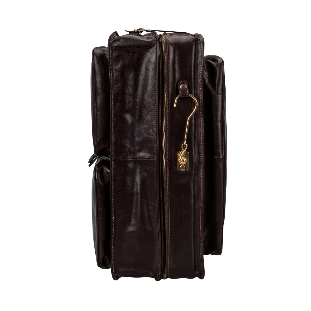 Image 4 of the 'Rovello' Dark Chocolate Veg-Tanned Leather Suit Carrier