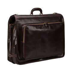 Image 2 of the 'Rovello' Dark Chocolate Veg-Tanned Leather Suit Carrier