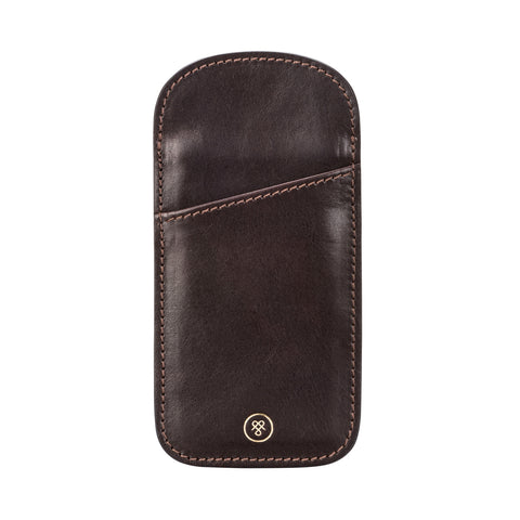 Image 1 of the 'Rufeno' Dark Chocolate Veg-Tanned Leather Glasses Case