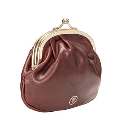 Image 4 of the Wine Leather Ball Clasp Coin Purse for Ladies