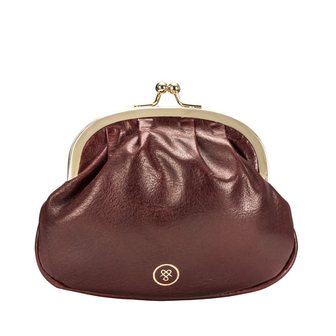 Image 1 of the Wine Leather Ball Clasp Coin Purse for Ladies