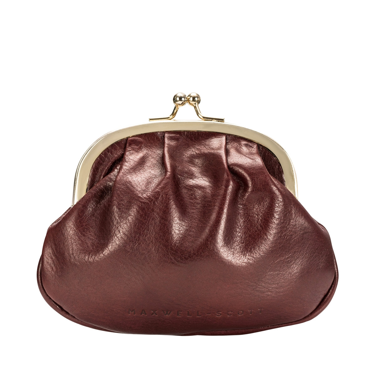 Image 3 of the Wine Leather Ball Clasp Coin Purse for Ladies