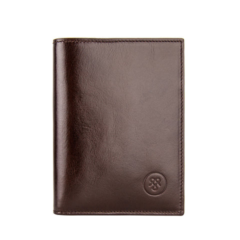 Image 1 of the Salerno' Dark Chocolate Veg-Tanned Leather Bi-Fold Card Wallet