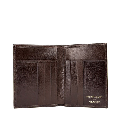 Image 2 of the Salerno' Dark Chocolate Veg-Tanned Leather Bi-Fold Card Wallet