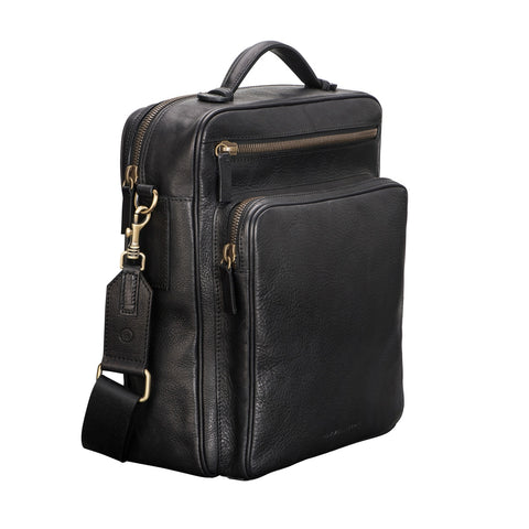 Image 2 of the 'SantinoL' Black Large Leather Backpack With Shoulder Strap For Men