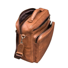 Image 6 of the 'SantinoL' Large Camel Leather Convertible Backpack Crossbody Bag For Men