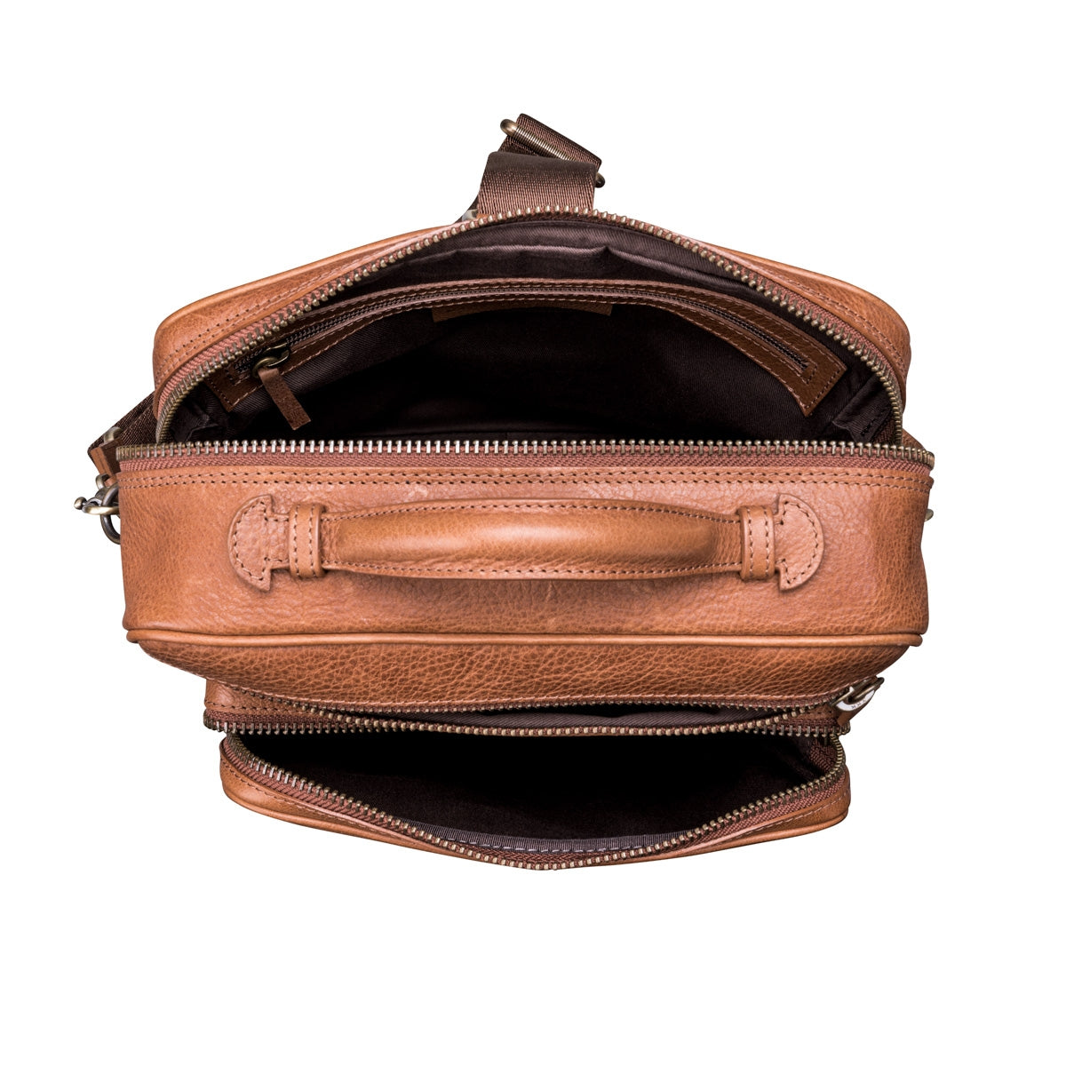 Image 7 of the 'SantinoL' Large Camel Leather Convertible Backpack Crossbody Bag For Men