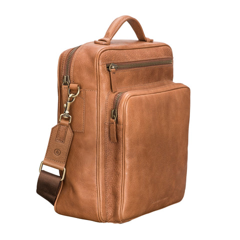 Image 2 of the 'SantinoL' Large Camel Leather Convertible Backpack Crossbody Bag For Men