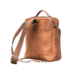 Image 5 of the 'SantinoL' Large Camel Leather Convertible Backpack Crossbody Bag For Men