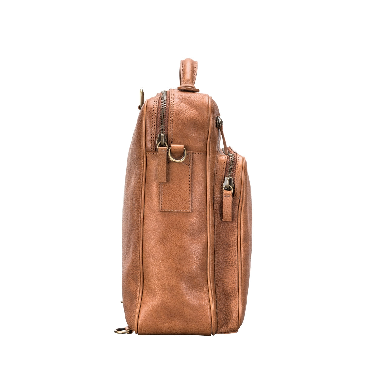 Image 3 of the 'SantinoL' Large Camel Leather Convertible Backpack Crossbody Bag For Men