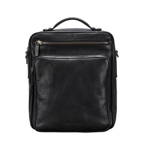 Image 1 of the 'SantinoL' Black Large Leather Backpack With Shoulder Strap For Men