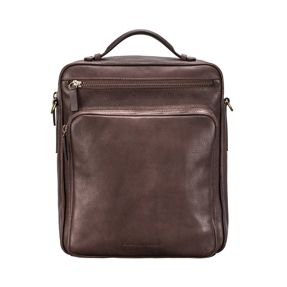 Image 1 of the 'SantinoL' Men's Brown Leather Convertible Backpack Shoulder