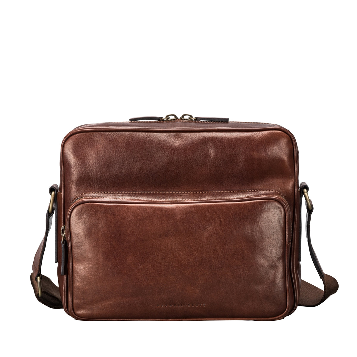 Image 1 of the Santino' Chestnut Handmade Veg-Tanned Leather Messenger Bag With Lock