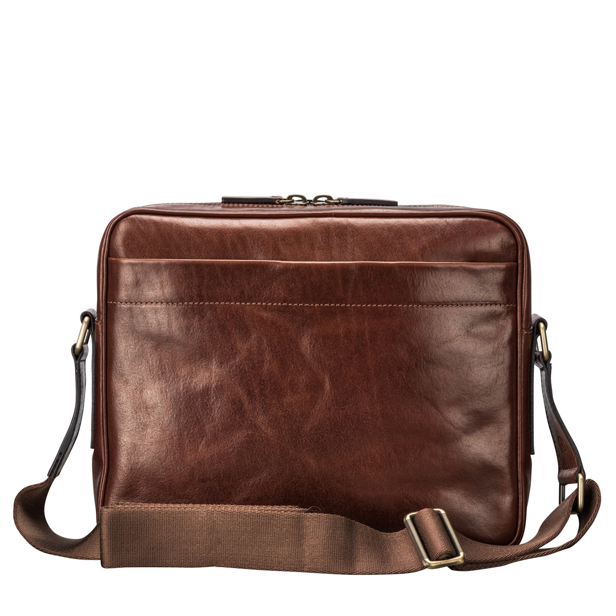 Image 4 of the Santino' Chestnut Handmade Veg-Tanned Leather Messenger Bag With Lock