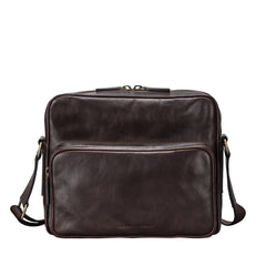 Image 1 of the Santino' Brown Handmade Veg-Tanned Leather Messenger Bag With Lock