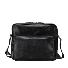 Image 1 of the Santino' Black Handmade Veg-Tanned Leather Messenger Bag With Lock