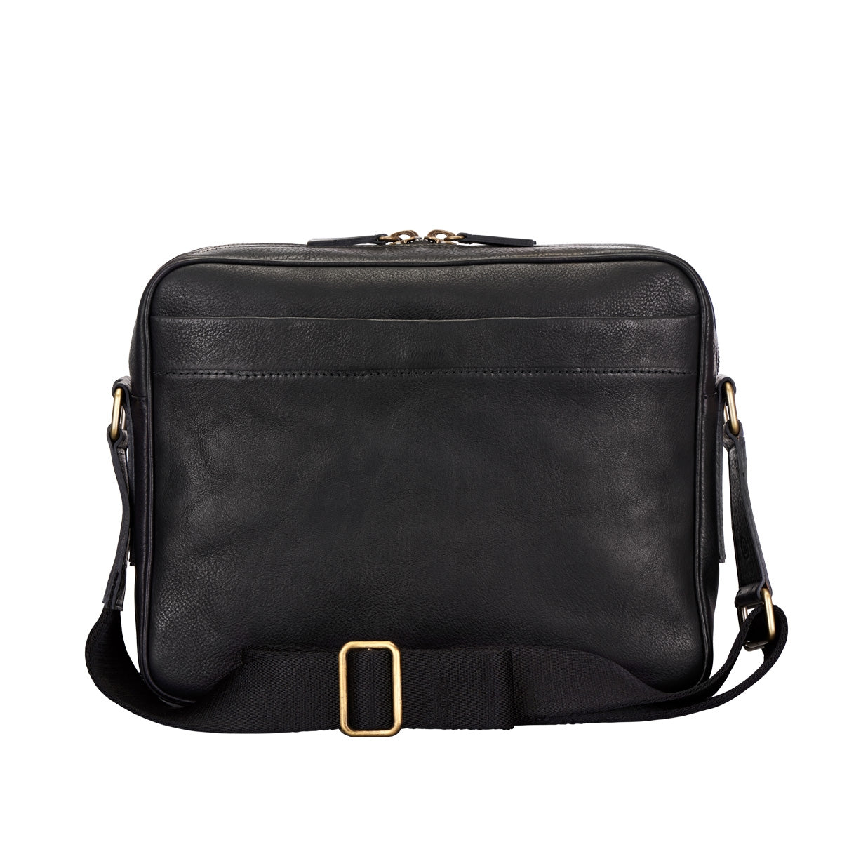 Image 4 of the 'SantinoM' Men's Italian Black Leather Messenger Bag