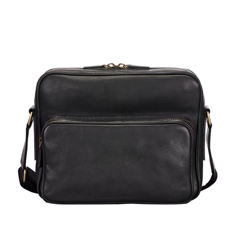 Image 1 of the 'SantinoM' Men's Italian Black Leather Messenger Bag