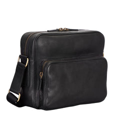 Image 2 of the 'SantinoM' Men's Italian Black Leather Messenger Bag