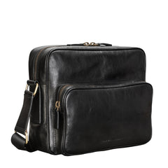 Image 2 of the Santino' Black Handmade Veg-Tanned Leather Messenger Bag With Lock