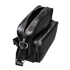 Image 5 of the Santino' Black Handmade Veg-Tanned Leather Messenger Bag With Lock