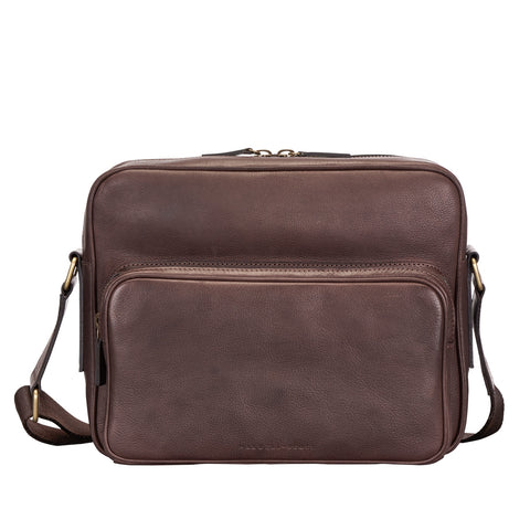 Image 1 of the 'SantinoM' Brown Italian Leather Men's Messenger Bag