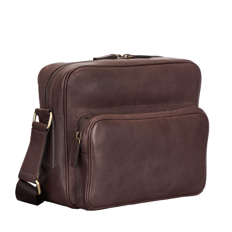 Image 2 of the 'SantinoM' Brown Italian Leather Men's Messenger Bag