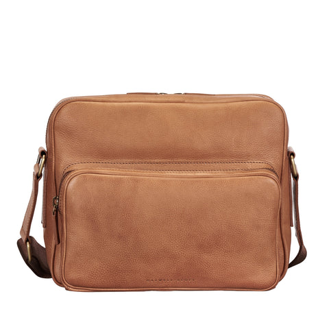 Image 1 of the 'SantinoM' Camel Italian Leather Men's Messenger Bag