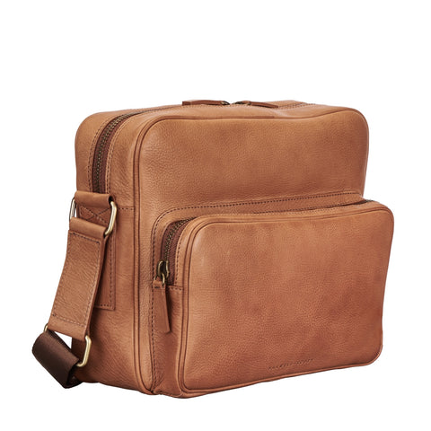 Image 2 of the 'SantinoM' Camel Italian Leather Men's Messenger Bag