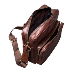 Image 5 of the Santino' Chestnut Handmade Veg-Tanned Leather Messenger Bag With Lock